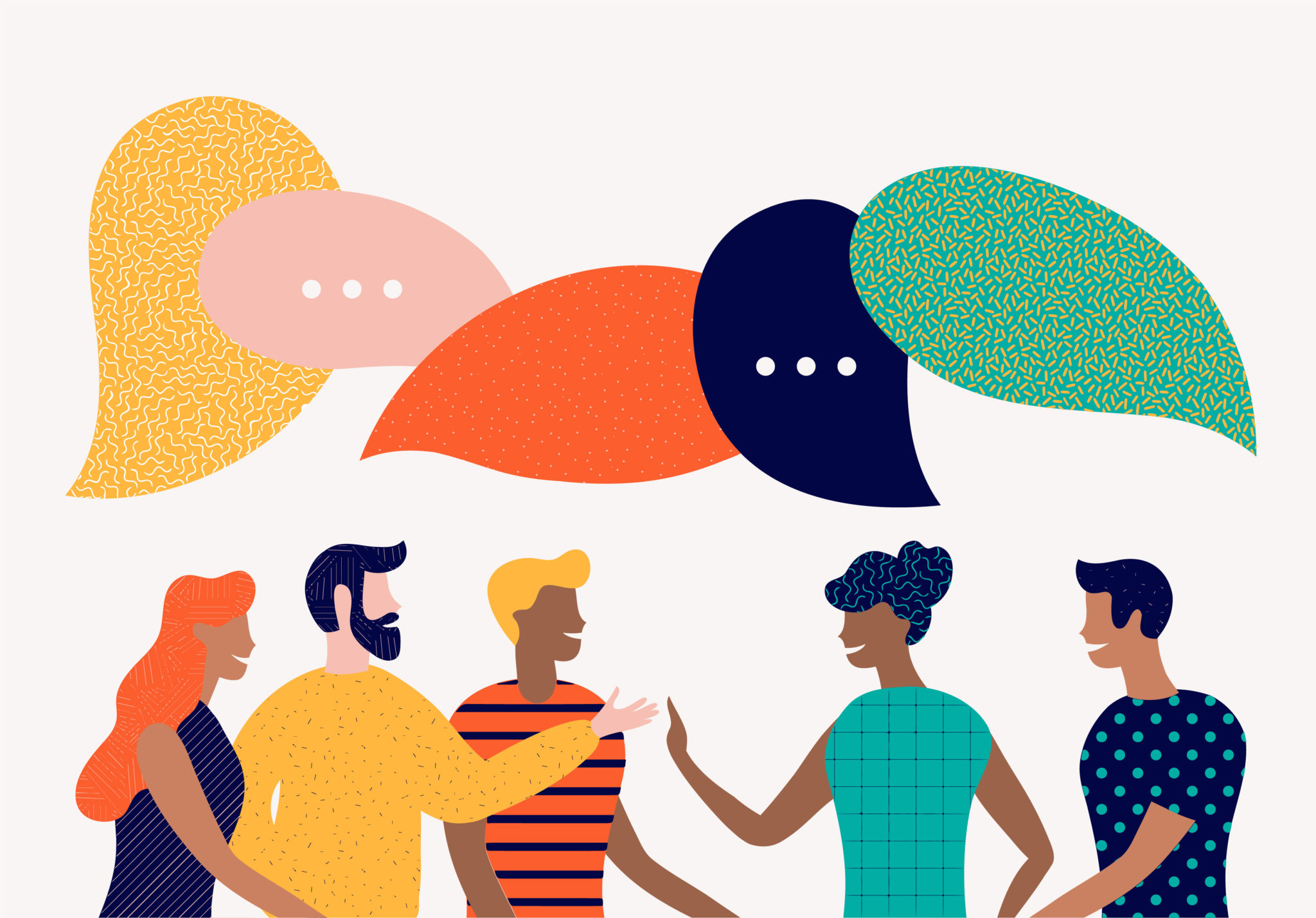 Illustration of people talking