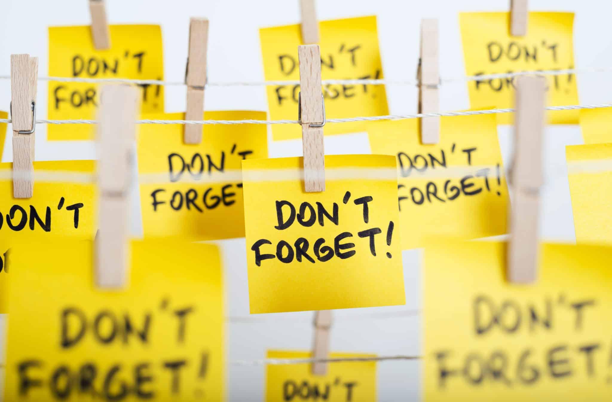 Sticky note reminders