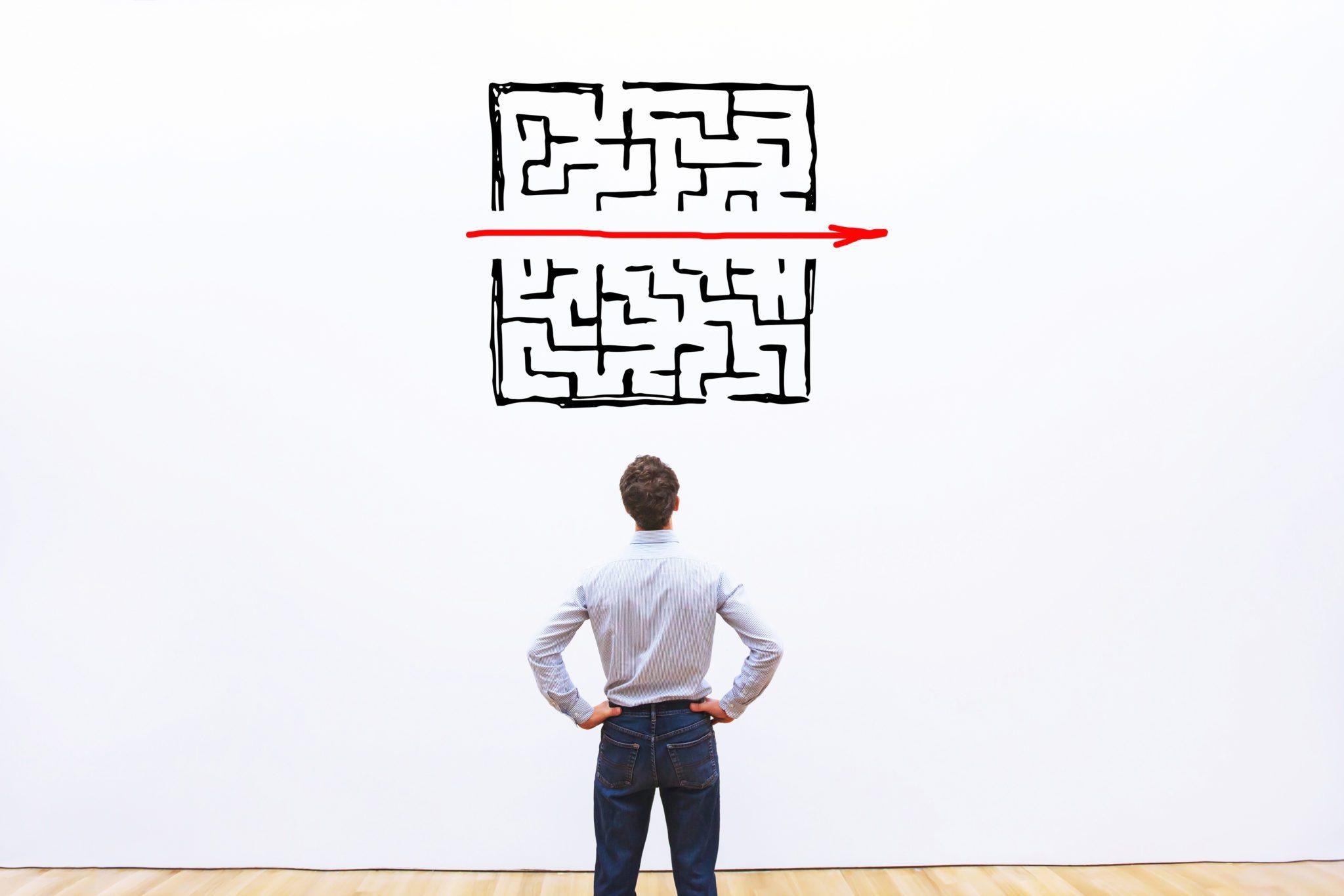 Straight path through a maze