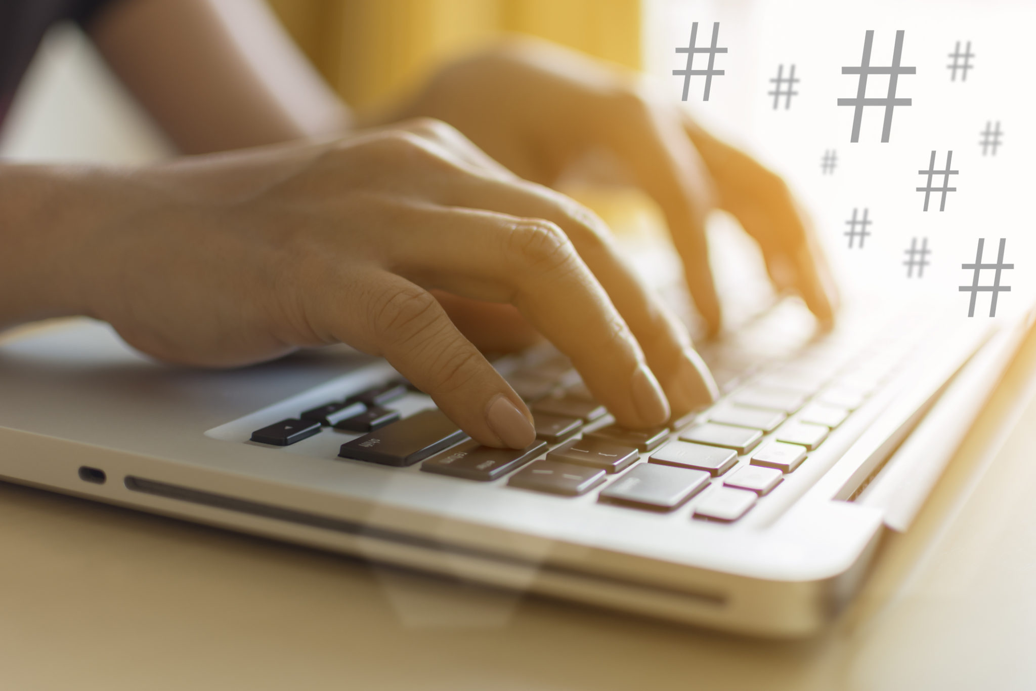 Hashtags on a laptop