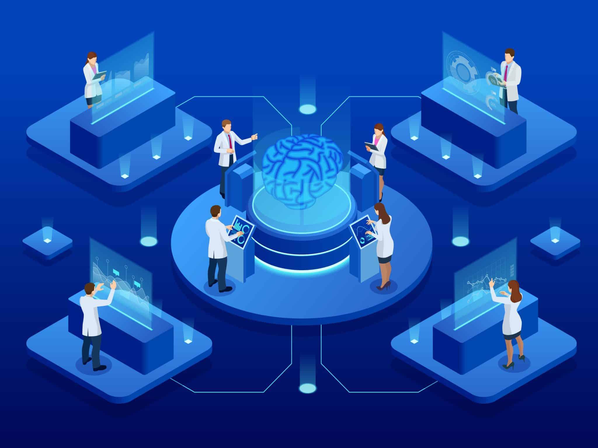 Researchers working around a brain