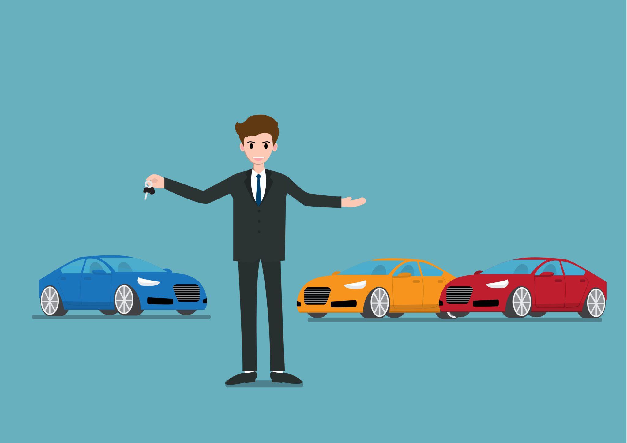 Car salesperson illustration