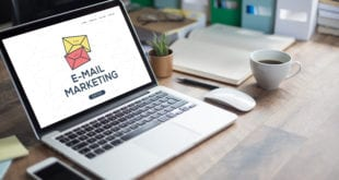 Email marketing on a laptop