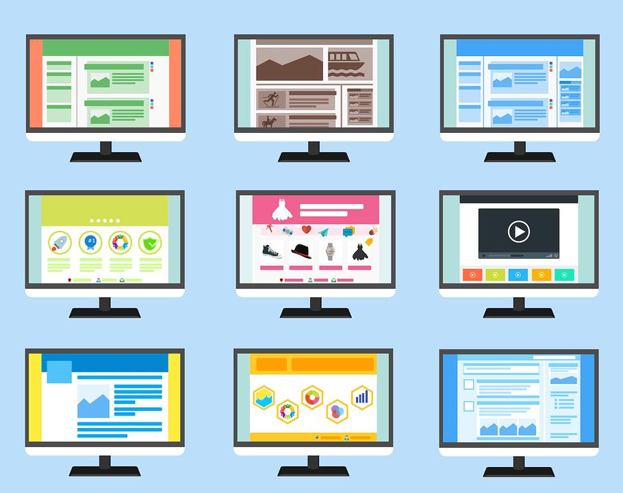 Nine cartoon images of computer desktops