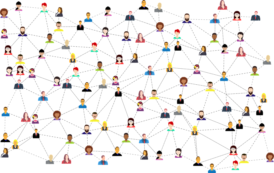 Network of people connected illustration