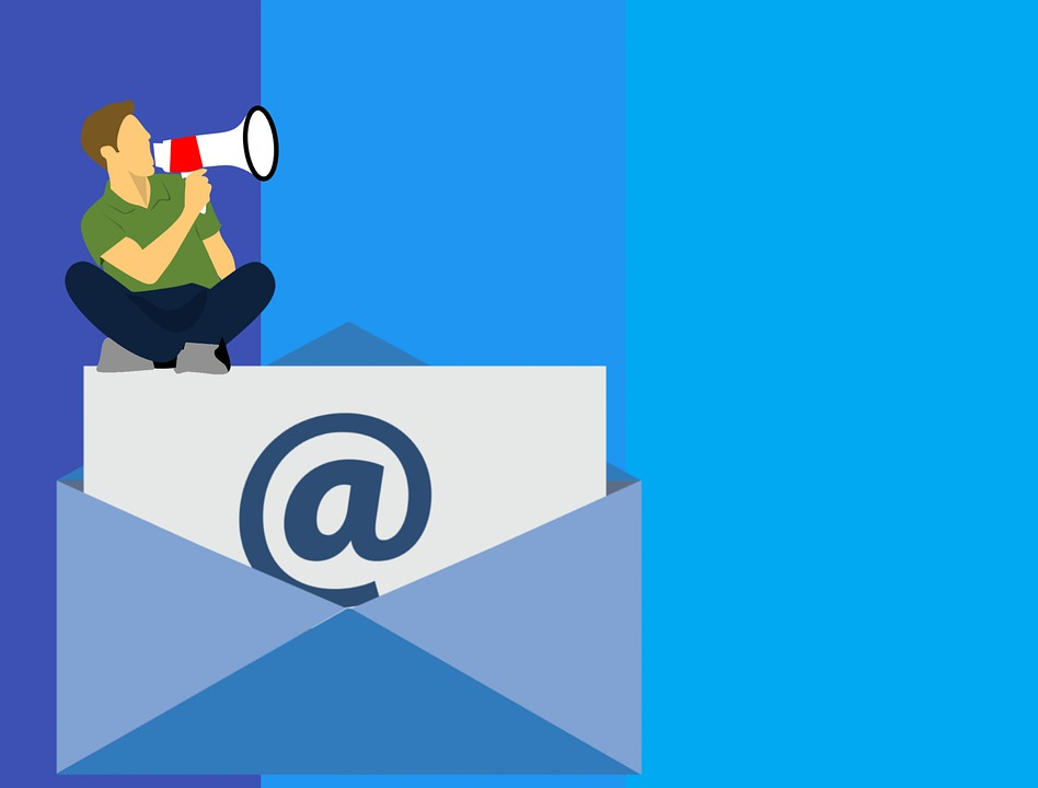Cartoon man sits on giant envelope with megaphone