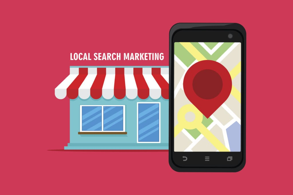 Local search marketing and with shop illustration