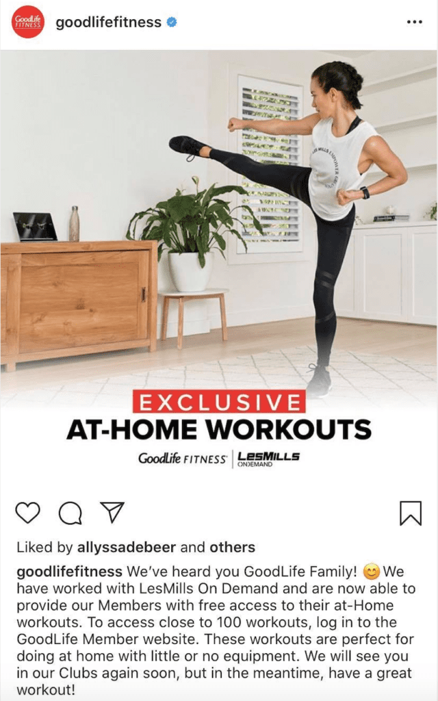 GoodLife Fitness instagram post for at-home workouts during COVID-19