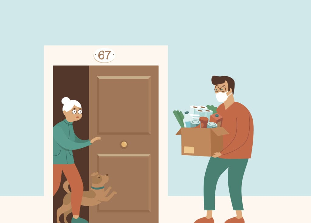 Food delivery for elderly woman in quarantine animation