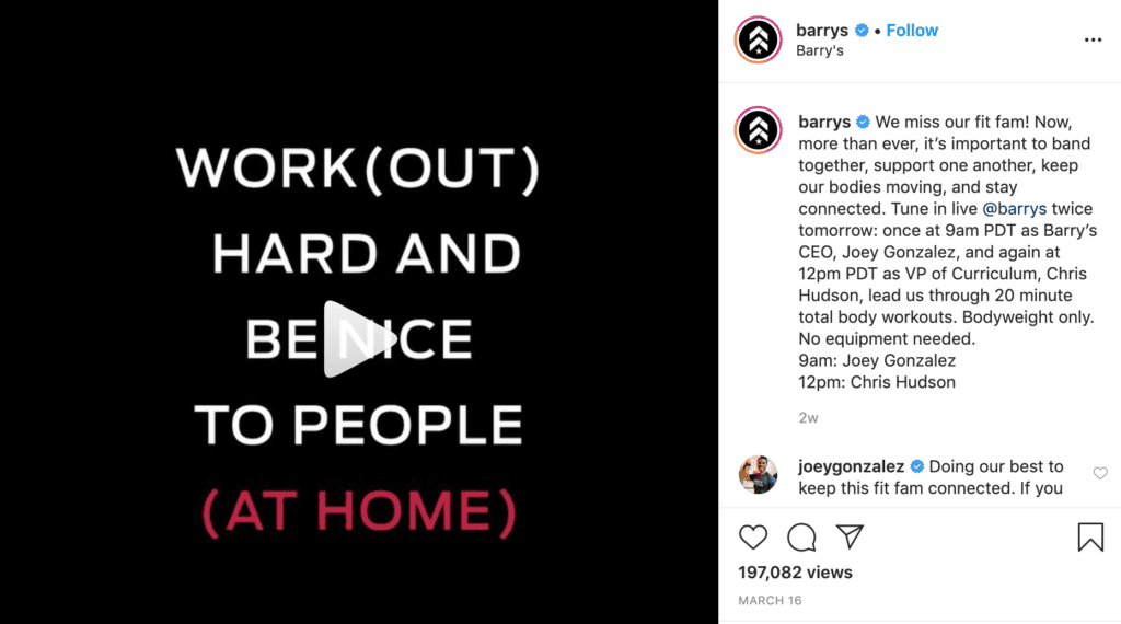 Barry's Bootcamp Instagram post about live-streaming workouts