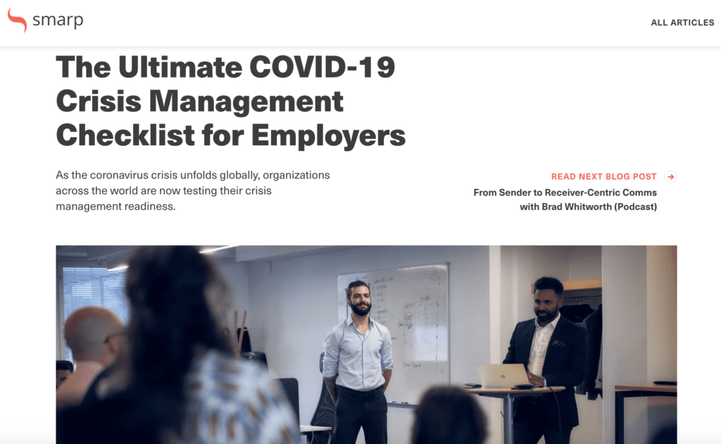 Smarp's 'The Ultimate COVID-19 Crisis Management Checklist for Employers' blog article