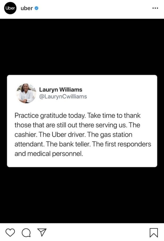 Uber Instagram post