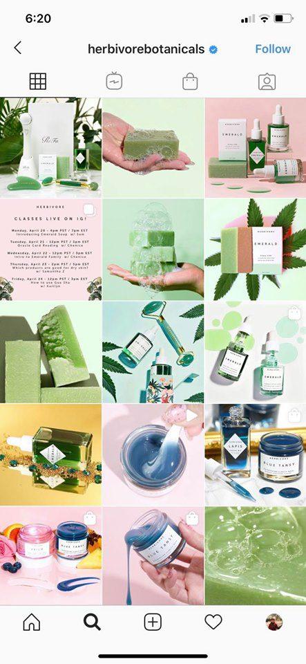 Herbivore Botanicals Instagram feed with brand aesthetic