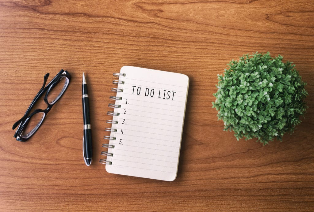 To do list on table as part of morning routine