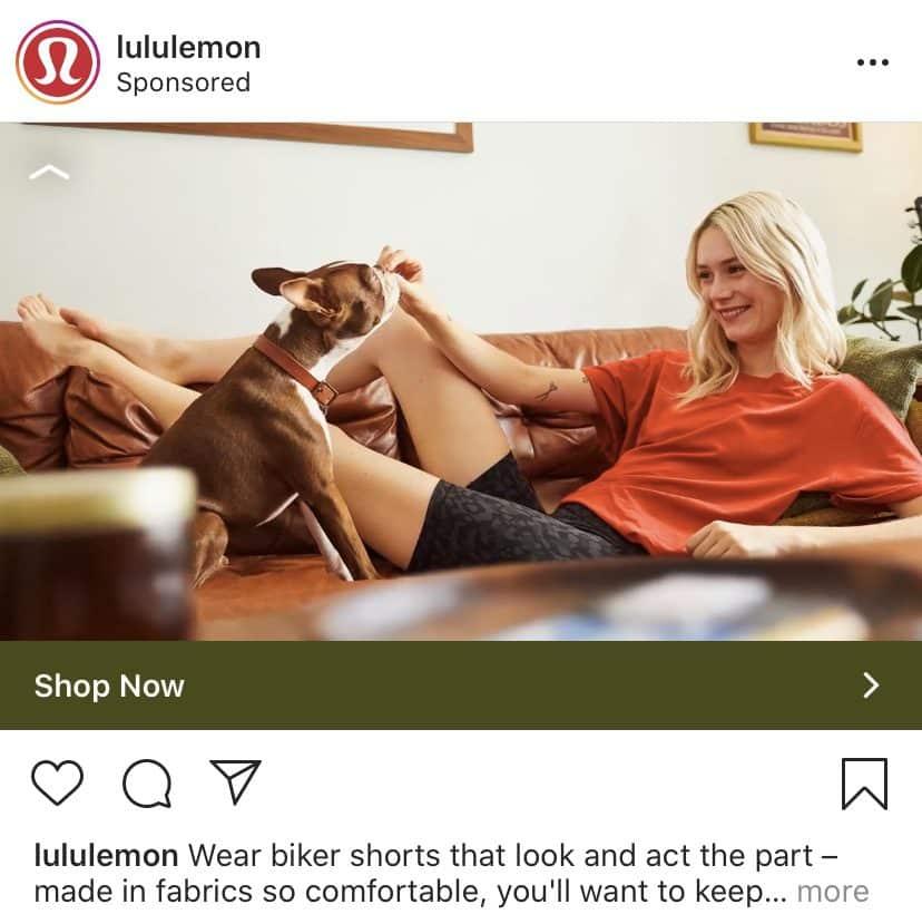 Lululemon Instagram ad