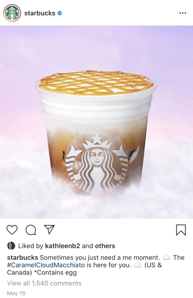 Starbucks Instagram post showing brand consistency