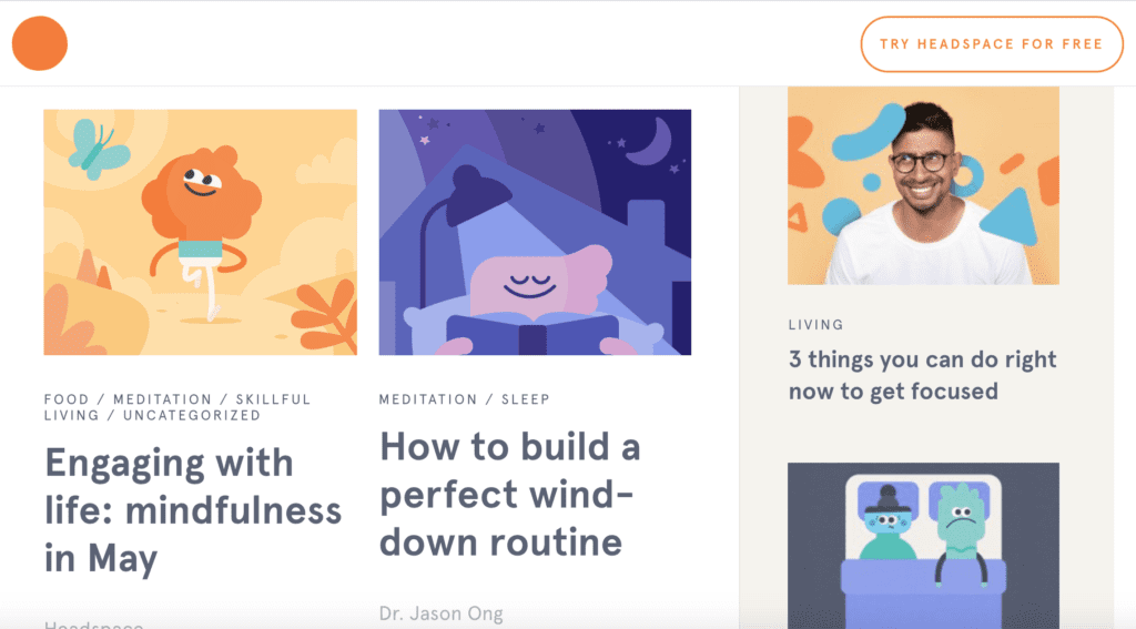Headspace blog content