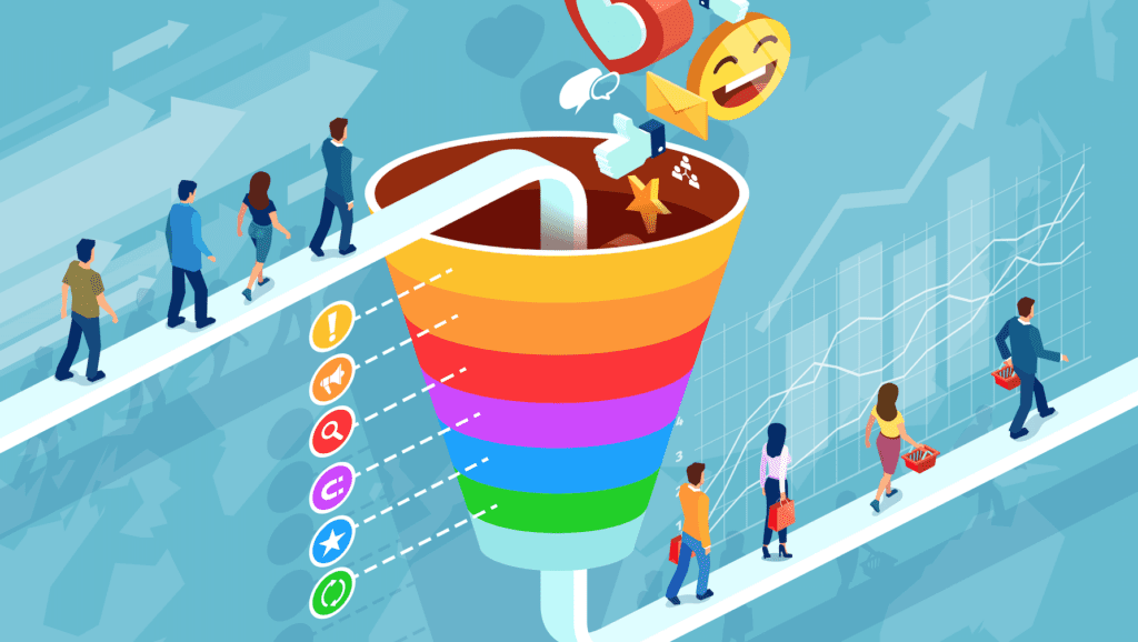 Target audience marketing funnel illustration
