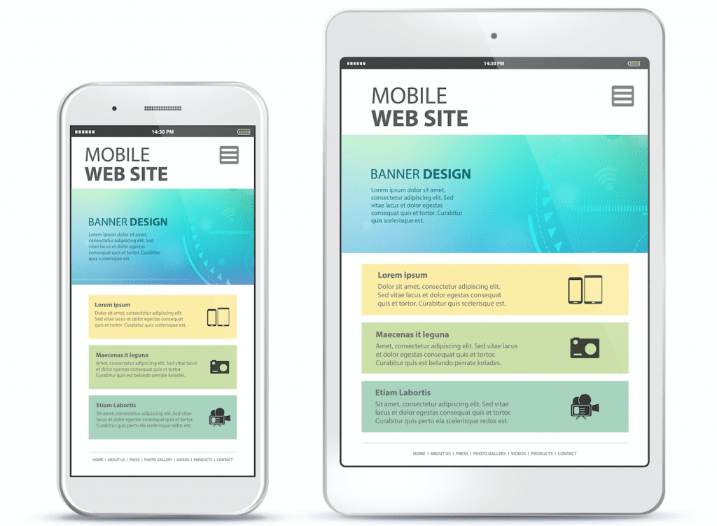 Mobile website design on mobile phone and tablet