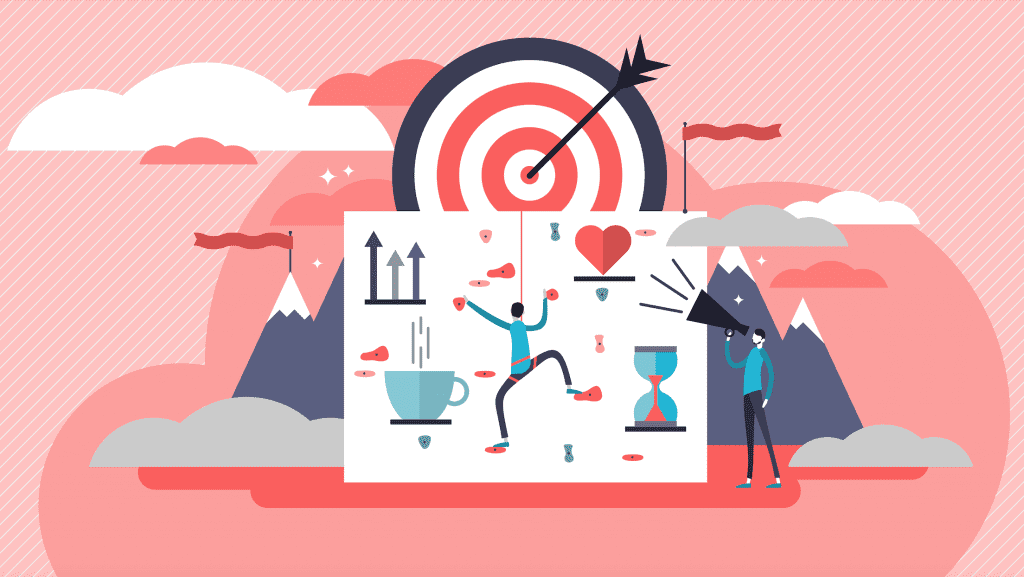 Climbing obstacles to reach a main goal illustration