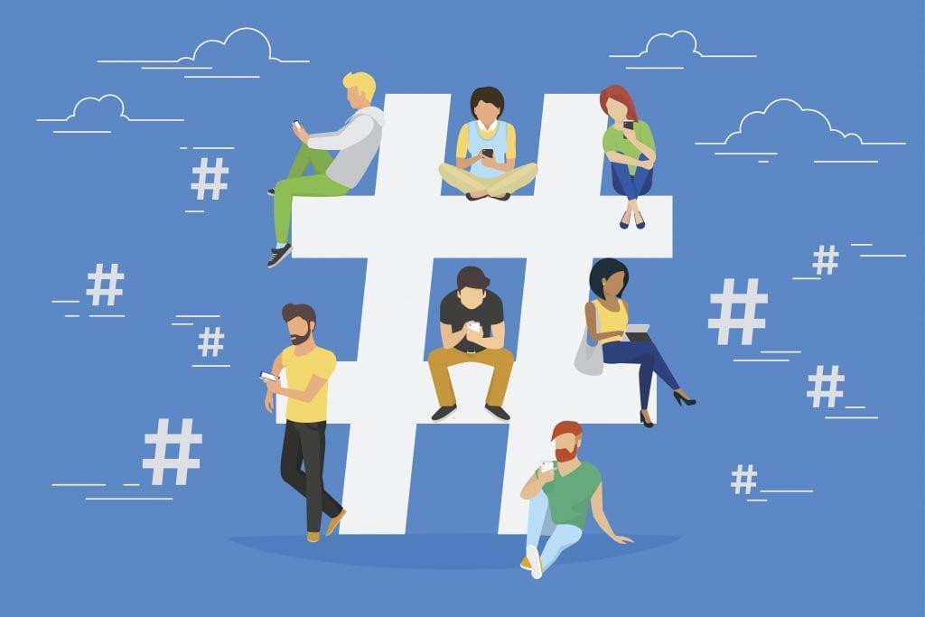 Hashtagging illustration