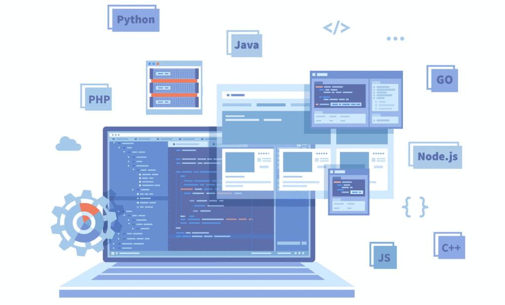 Backend development coding languages illustration