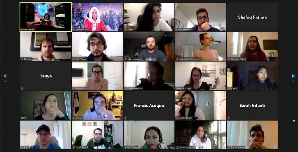 Elite Digital team members playing Moonshot virtual escape room over Zoom