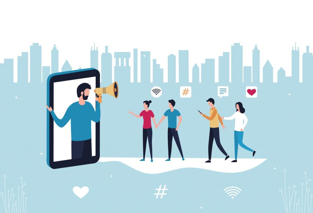 Influencer marketing referral on mobile phone. Man promoting services and products illustration.