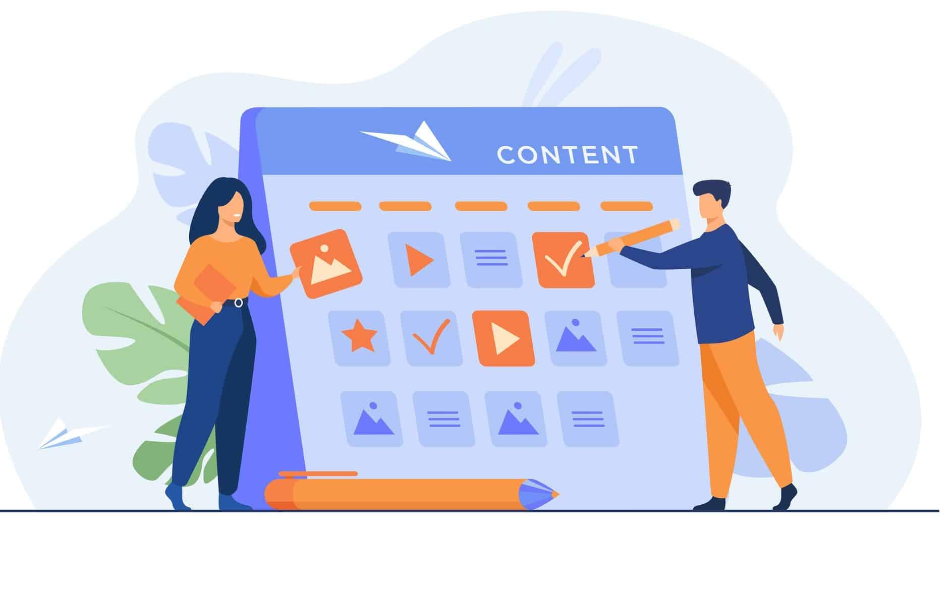 People making social media content calendar illustration