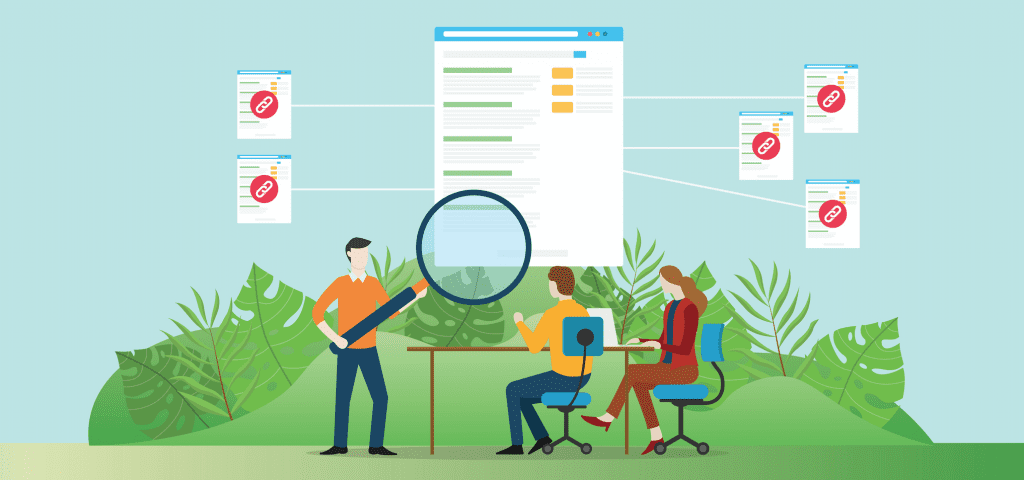 Backlink building for off-page SEO, people at desk analyzing backlinks illustration